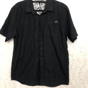 Volcom Black Mens Large L Short Sleeve Button Up